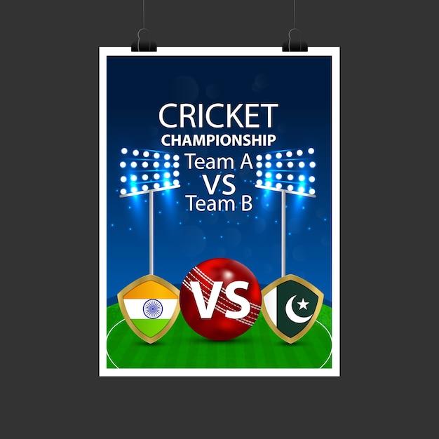 Inde Vs Pakistan Cricket Match Vecteur Premium