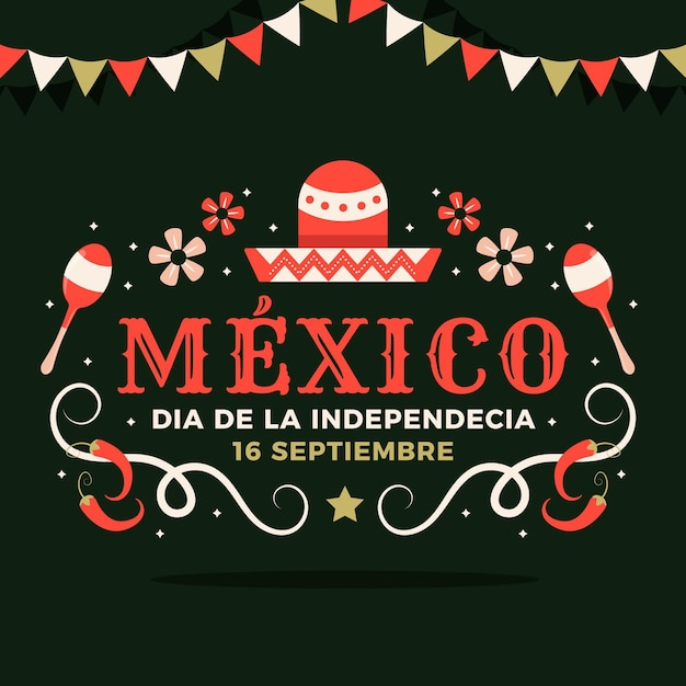 L'indépendance Du Design Plat Du Mexique Vecteur gratuit