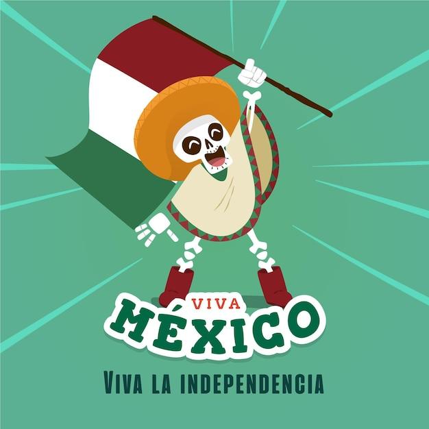 Indépendance Du Mexique Style Dessiné à La Main Vecteur gratuit