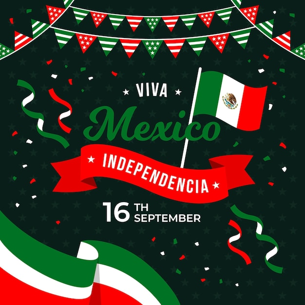 Independencia De México Avec Des Confettis Et Des Drapeaux Vecteur gratuit