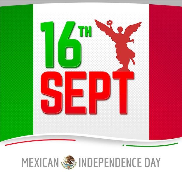 Independencia De México Avec Date Vecteur gratuit