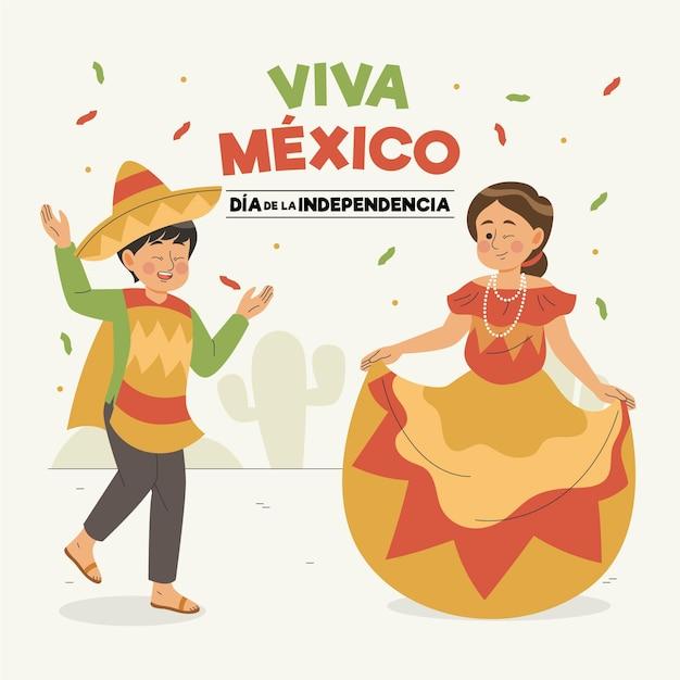 Independencia De México Dessiné à La Main Vecteur gratuit