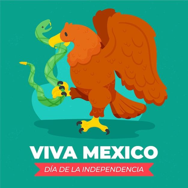 Independencia De México Fond Dessiné à La Main Avec Des Animaux Vecteur gratuit