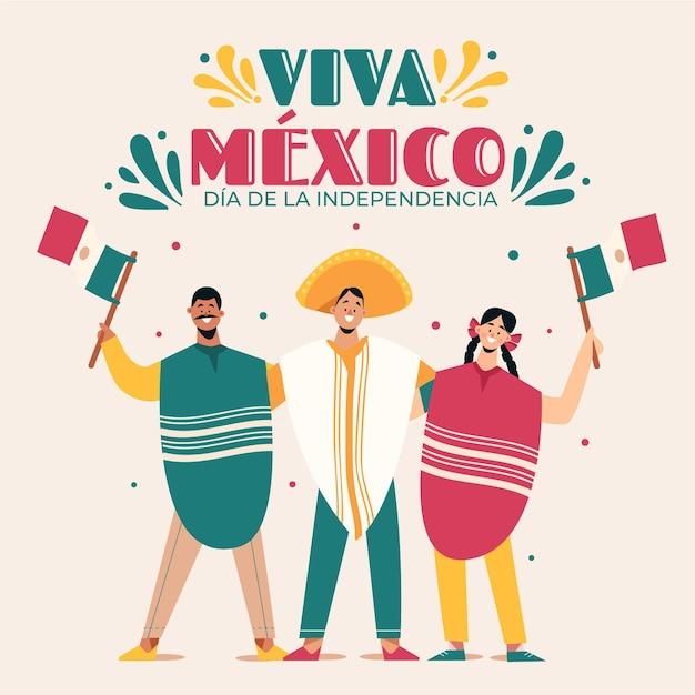 Independencia De México Avec Des Gens Célébrant Vecteur gratuit