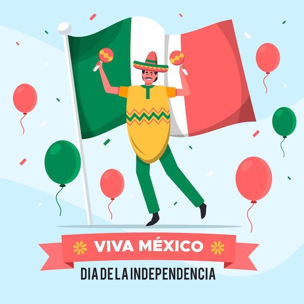 Independencia De México Avec Homme Aux Maracas Vecteur gratuit