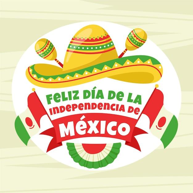 Independencia De México Avec Maracas Et Chapeau Vecteur gratuit