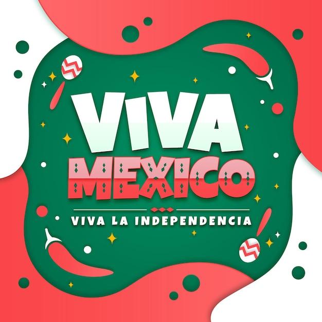 Independencia De México En Style Papier Vecteur gratuit