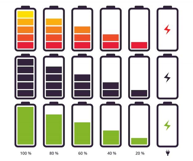 Indicateur De Batterie Niveau De Charge Différent Vecteur Premium