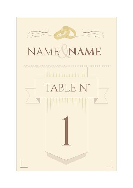 Indicateur de table de mariage Vecteur Premium