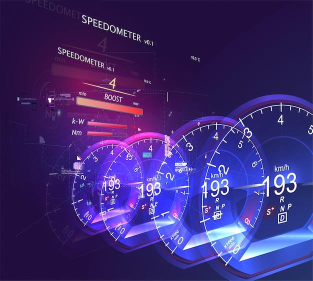 Indicateur de vitesse de voiture abstraite Vecteur Premium