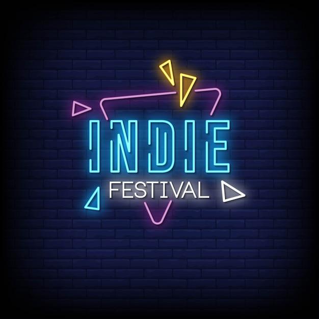 Indie Festival Neon Signs Style Texte Vecteur Premium