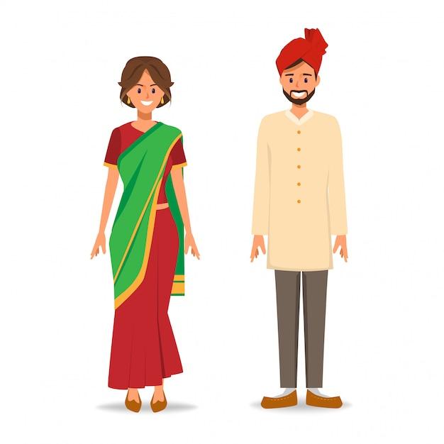 Indiens à la robe nationale. Vecteur Premium