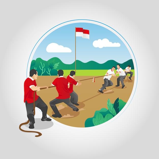Indonésie Indépendance Jeux De Tir à La Corde Vecteur Premium