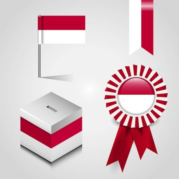 Indonésie pays drapeau ensemble Vecteur Premium