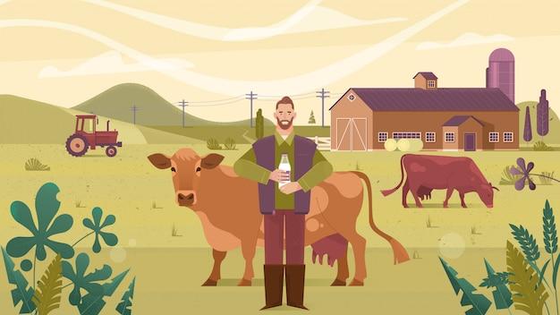 Industrie agricole, agriculture, hommes et élevage Vecteur Premium