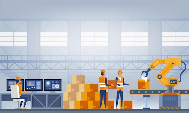 Industrie, Concept D'usine Intelligente. Vecteur Premium