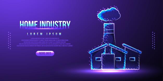 Industrie Domestique, Bâtiment D'entreprise, Structure Filaire Low Poly Vecteur Premium