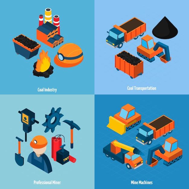Industrie du charbon isométrique Vecteur gratuit