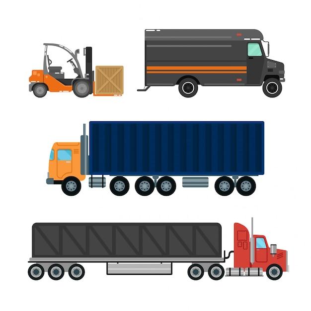 Industrie de la logistique des fourgonnettes de livraison Vecteur Premium