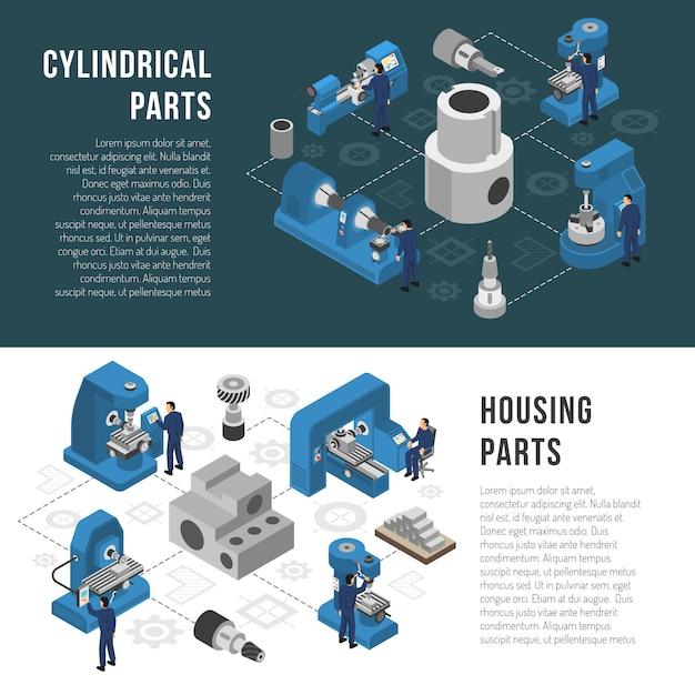Industrie lourde production 2 bannières isométriques Vecteur gratuit