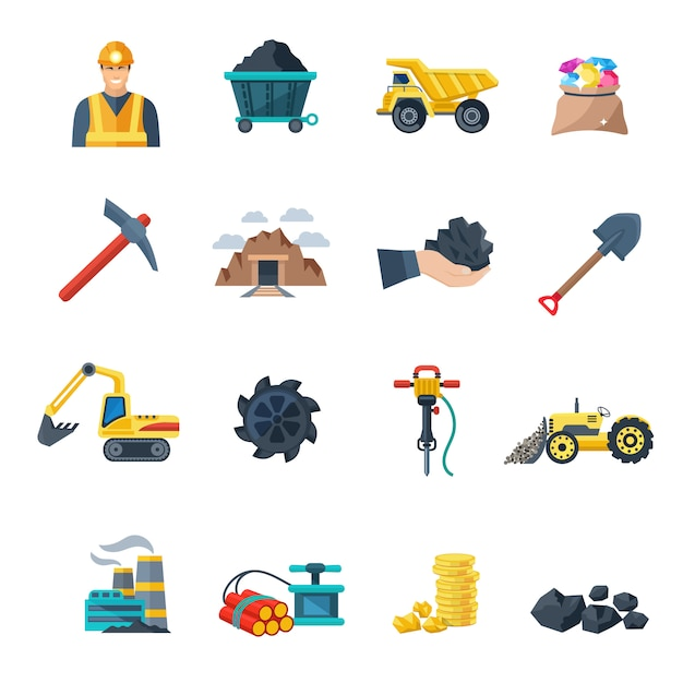 Industrie minière et équipement d'extraction minière Vecteur Premium