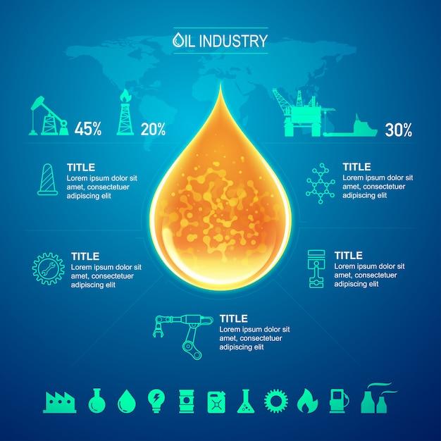Industrie pétrolière et gazière pour modèle infographique Vecteur Premium
