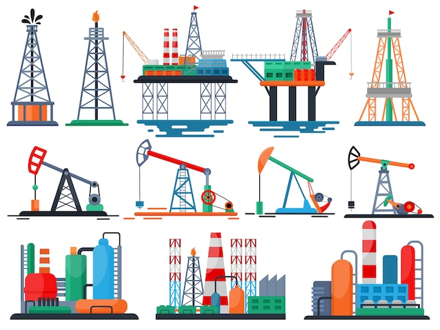 Industrie pétrolière vecteur de produits pétroliers huilé technologie produisant forage pompe à essence ensemble de grue équipement industriel isolé Vecteur Premium