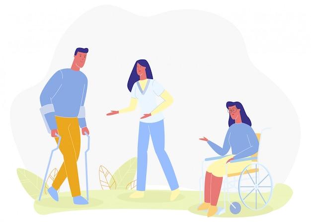 Infirmière aidant un homme marchant dans la fille axillaire en fauteuil roulant Vecteur Premium