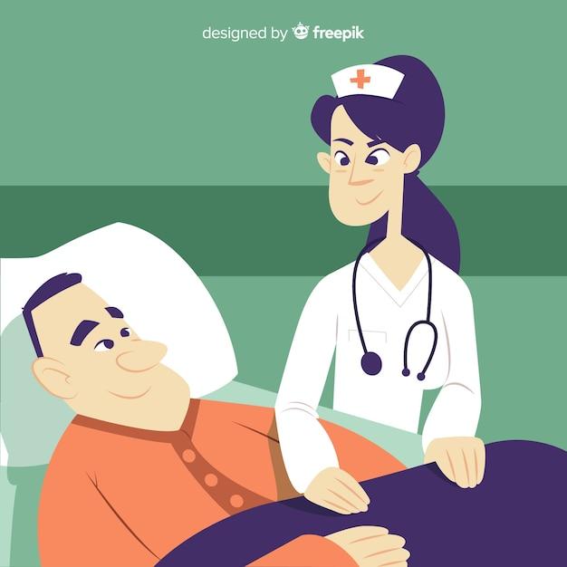 Infirmière aidant le patient Vecteur gratuit