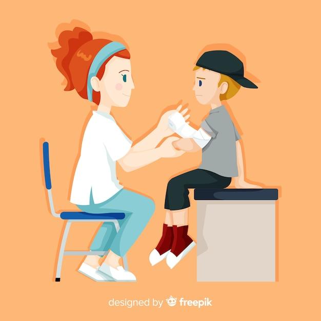 Infirmière dessinée à la main aidant le patient Vecteur gratuit