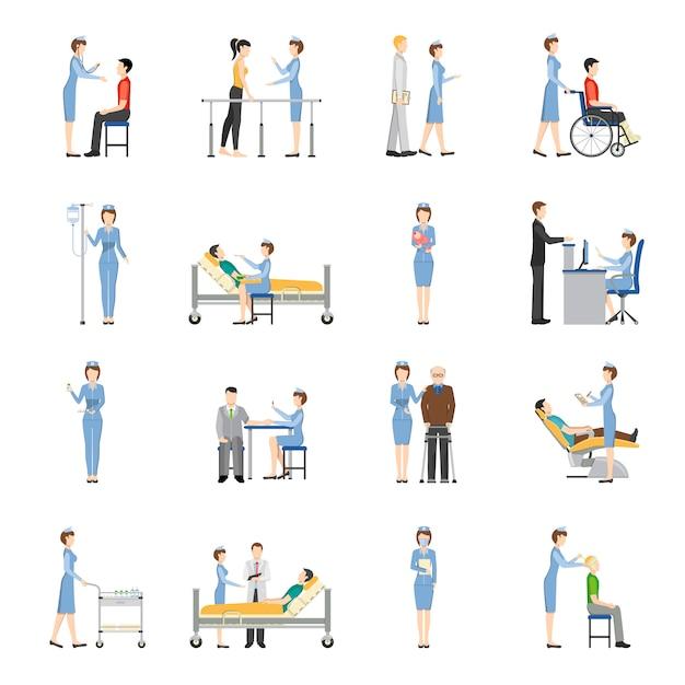 Infirmière icônes de soins de santé Vecteur gratuit