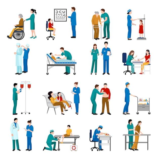 Infirmière icons set Vecteur gratuit