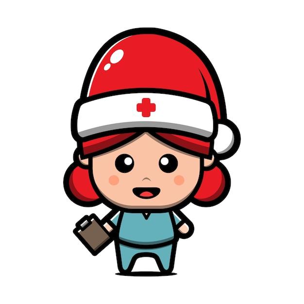 Infirmière Mignonne Portant Illustration De Dessin Animé De Chapeau De Père Noël. Concept De Noël Vecteur Premium