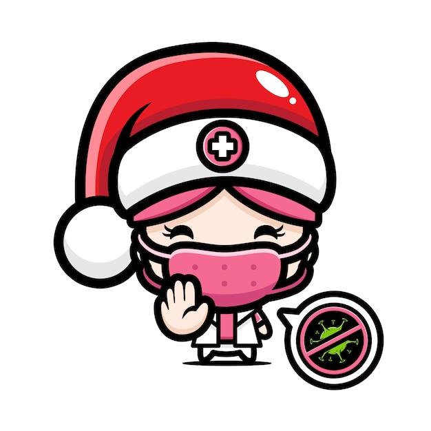 Infirmière Mignonne Portant Un Masque Avec Pose De Virus D'arrêt Vecteur Premium