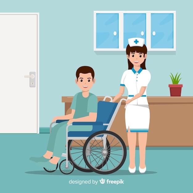 Infirmière plate aidant le patient Vecteur gratuit
