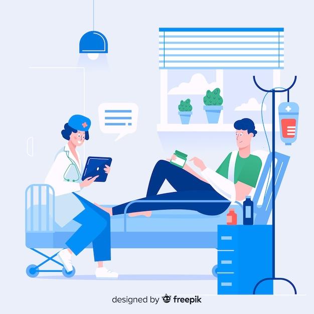 Infirmière plate avec patient Vecteur gratuit
