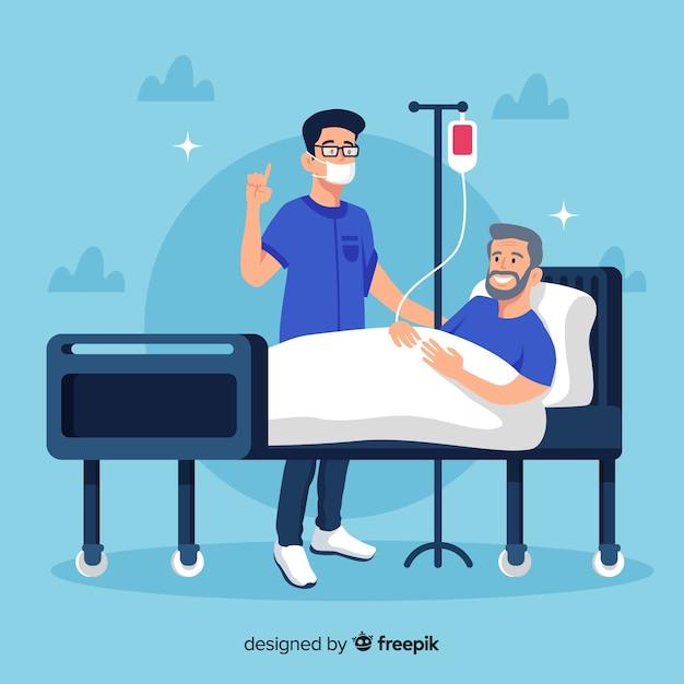 Infirmière Plate Avec Patient Vecteur Premium