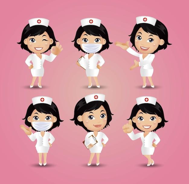 Infirmière Avec Des Poses Différentes Vecteur Premium
