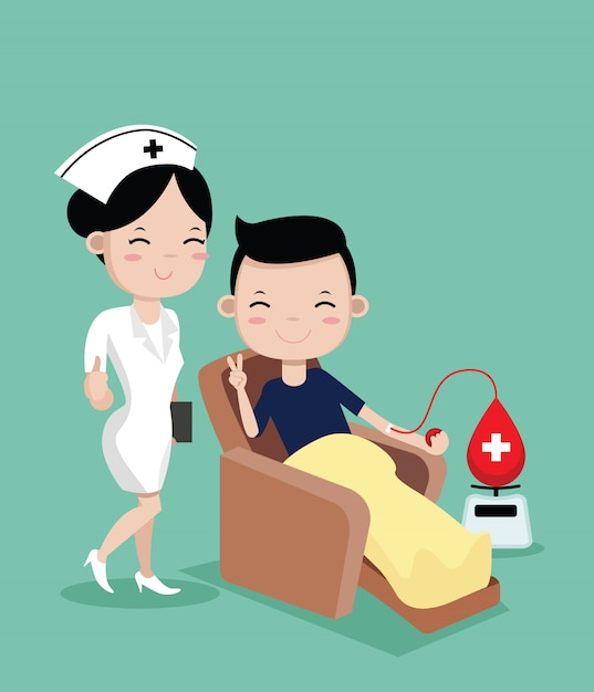 Infirmières et jeune homme heureux de faire un don de sang Vecteur Premium