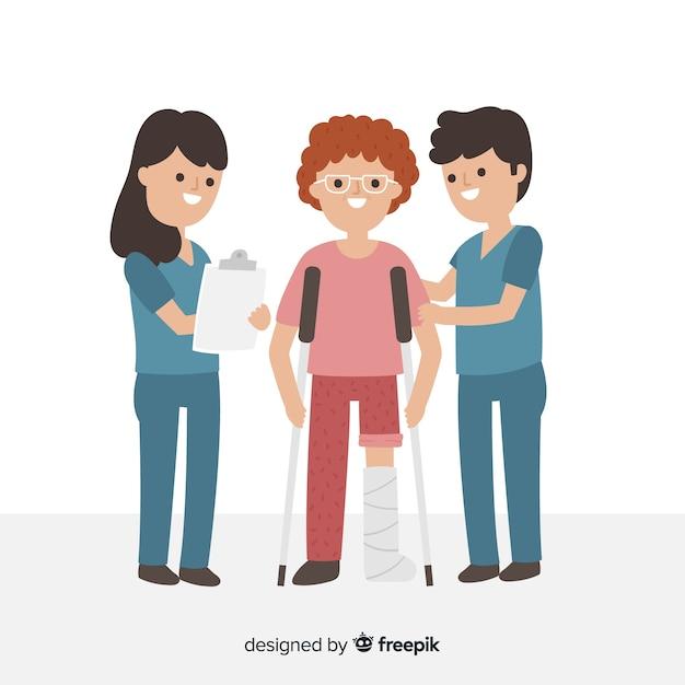 Infirmières Plates Aidant Les Antécédents Du Patient Vecteur gratuit