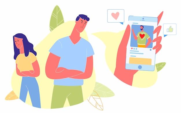 Influence des réseaux de médias sociaux sur les relations humaines Vecteur Premium
