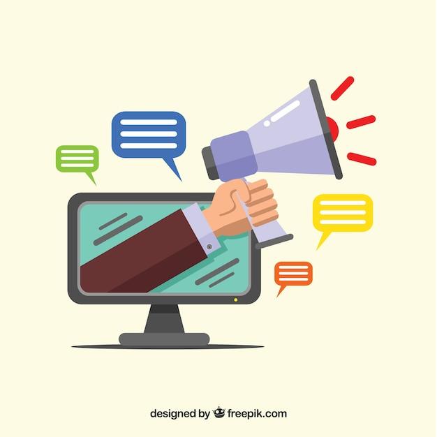 Influencer le concept marketing avec moniteur et haut-parleur Vecteur gratuit