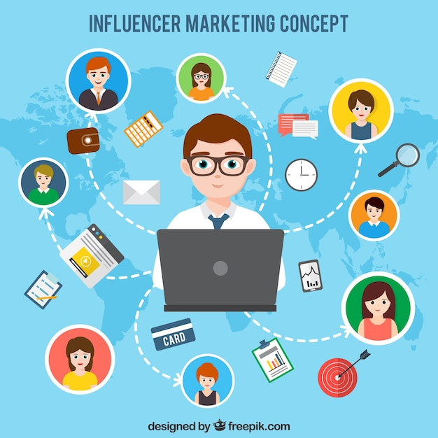 Influencer la conception marketing sur la carte du monde Vecteur gratuit