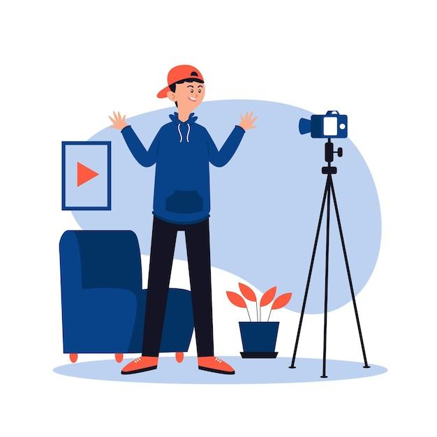 Un Influenceur Enregistre Un Nouveau Concept Vidéo Vecteur gratuit