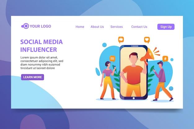 Influenceur de médias sociaux Vecteur Premium