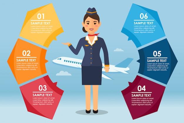 Infografic rond avec hôtesse de l'air et avion Vecteur Premium