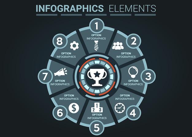 Infographics élément résumé le concept de l'événement le plus réussi numéro huit rond Vecteur Premium
