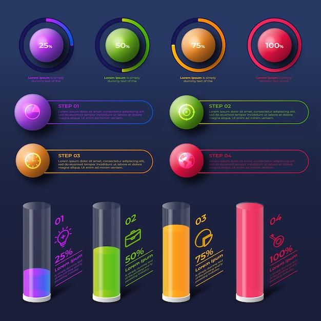 Infographie 3d Design Brillant Vecteur gratuit