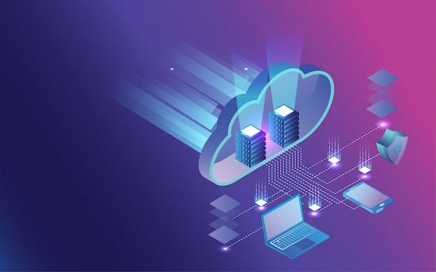 Infographie 3d du partage et de la protection des données. Vecteur Premium