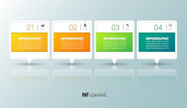 Infographie en 4 étapes Vecteur Premium